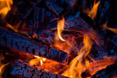 Close-up firewood in fire — Foto de Stock