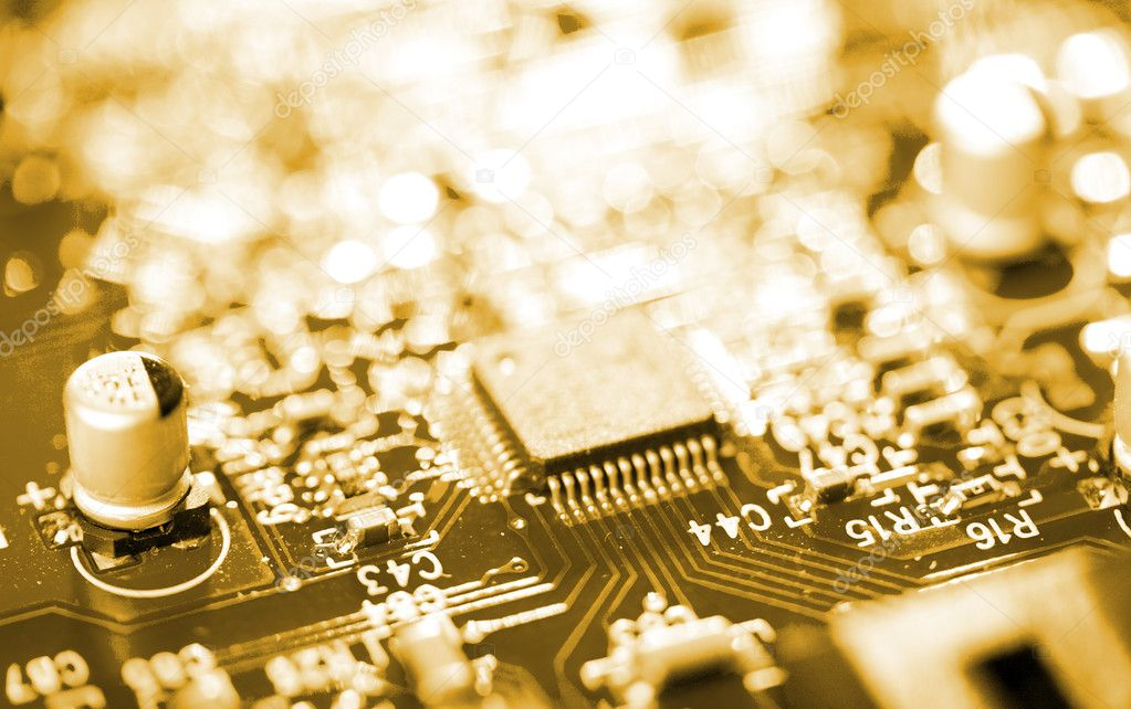 Close-up chip on circuit board — Stock Photo #1798435