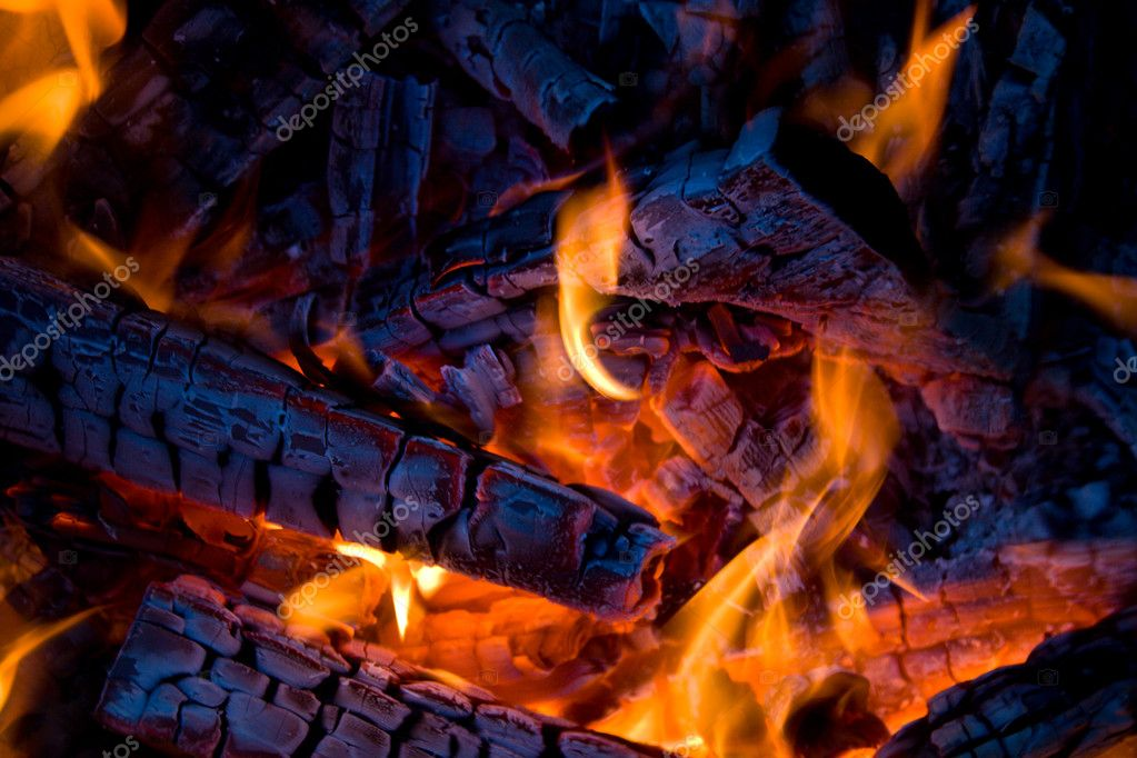 Close-up firewood in orange fire — Stock Photo #1799432