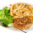 Stock Photo: Cutlet with broccoli and potatoes