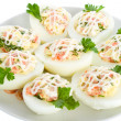 Eggs stuffed with red fish — Stock Photo