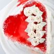 Stock Photo: Heart-shaped cake view from above