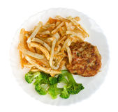 Fried potatoes with cutlet and broccoli — Stock Photo