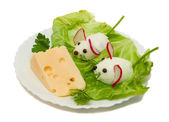 Funny food - two mouse and cheese — Stock Photo