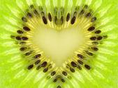 Green heart from kiwi — Stock Photo