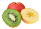 Kiwi and apples isolated — Stock Photo