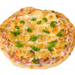 Pizza with ham isolated — Stock Photo