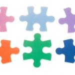 Six color puzzle blocks — Stock Photo