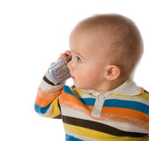 Little boy talking on phone — Stock Photo