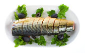 Mackerel on plate — Stock Photo