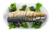 Mackerel on plate — Stock Photo