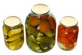 Jars with vegetables — Stock Photo