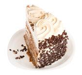 Pasta beyaz plaka üzerinde — Stok fotoğraf