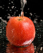 Red apple under water stream — Stock Photo