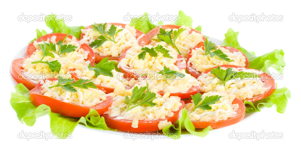 Stuffed tomatoes with cheese and garlic, isolated on white — Stock Photo #1817832