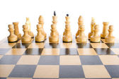 White chess pieces in start position — Stock Photo