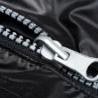 Zipper on black jacket — Stok fotoğraf