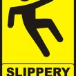 Slippery Floor Sign - Stock Photo