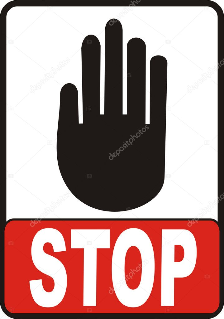 Hand With Stop Sign vectorial image isolated on white — Stock Photo #1848647