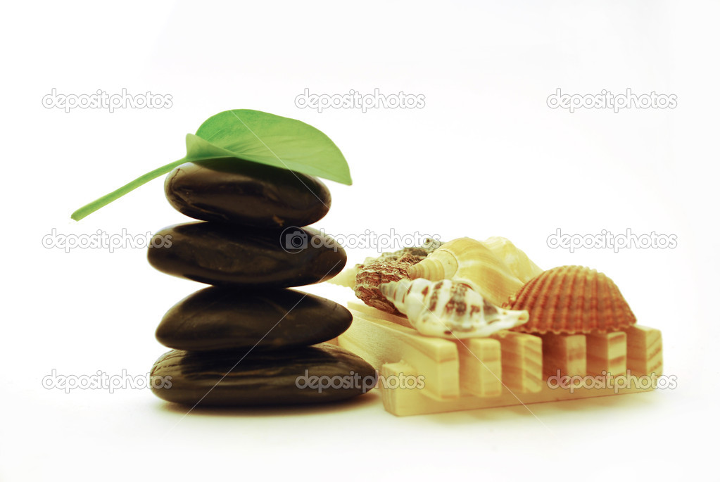 Stack of balanced stones with sea shell isolated on white background — Stock Photo #1855918