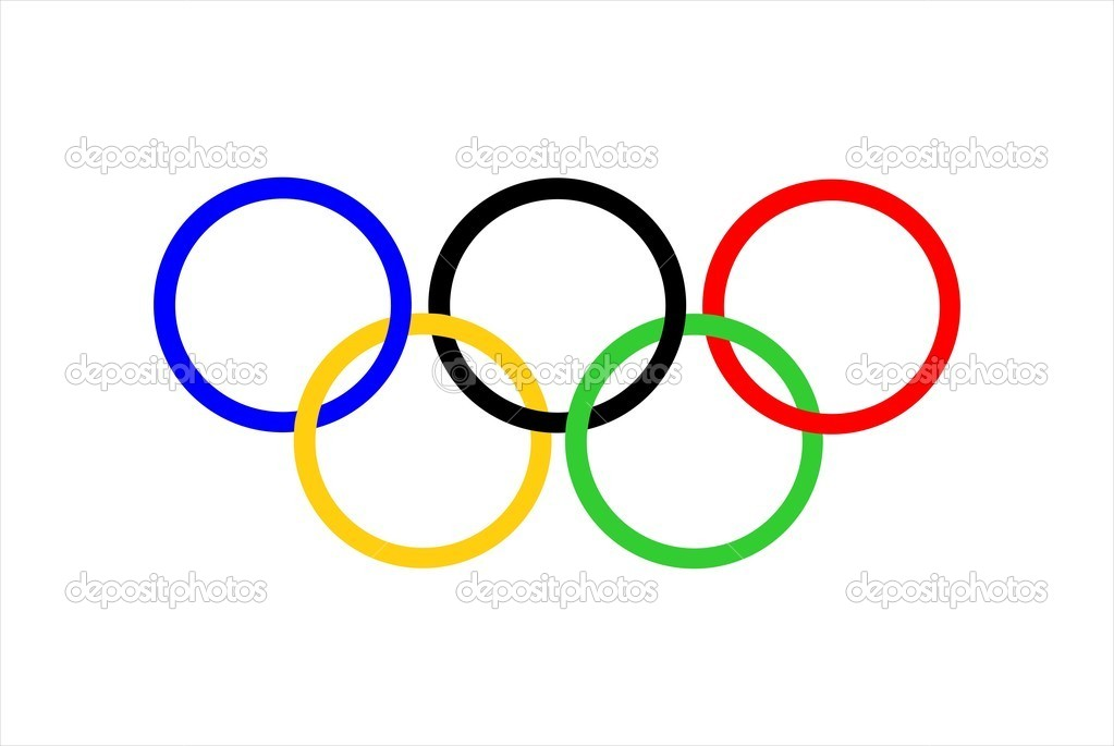 The five interlocking Olympic Rings on a white field — Stock Photo #1919027