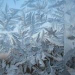 Snow pattern on winter window — Stock Photo
