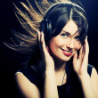 Beautiful Headphones Girl — Foto de Stock