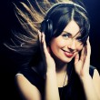 Beautiful Headphones Girl — Foto Stock
