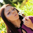Girl blow soap bubble — Stock fotografie