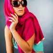 Stock Photo: Beautiful womwearing sunglasses