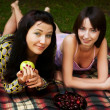 Two girls relaxing in park — Stock Photo #1670434