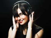 Beautiful Headphones Girl — Stock Photo