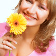 Blondy with flower — Stock Photo #1737440