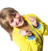 веселая молодая женщина спортивная — Стоковое фото