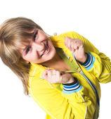 Glad ung sportig kvinna — Stockfoto