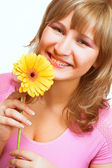 Blondy with flower — Stock Photo