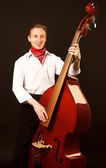 Musician with contrabass — Stock Photo