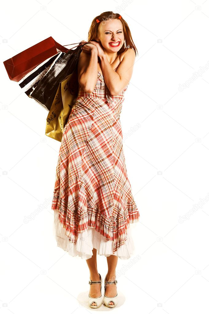 Shopping sexy woman over a white background — Stock Photo #1737435