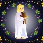 Christmas Eve (little girl) — Stock Vector