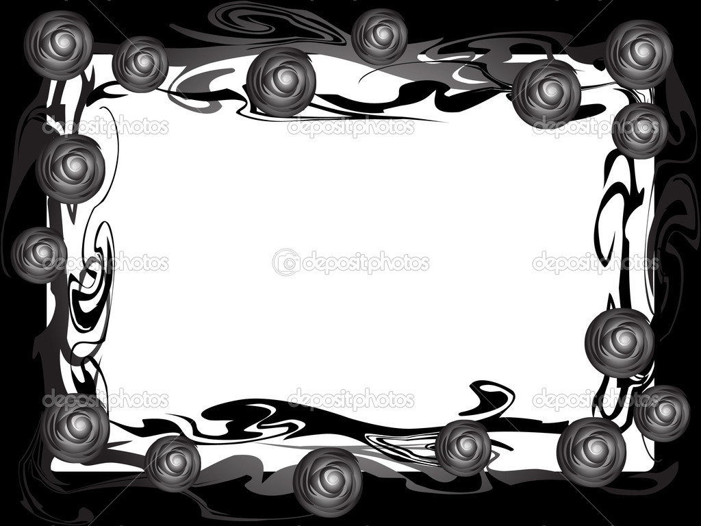 This is a frame of branches of roses. Monochrome. Retro style.  Stock Vector #2065078
