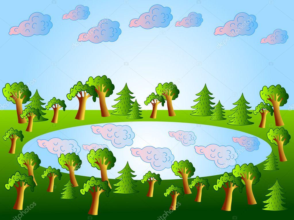 Рисовать озеро для детей