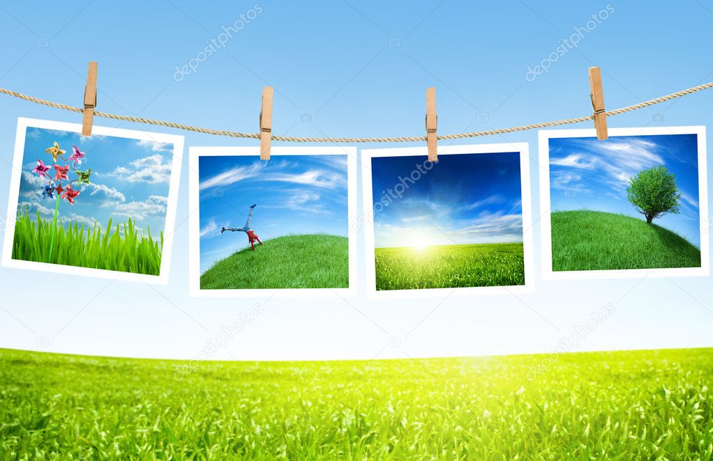 Ecology pictures on a clothes line — Stock Photo #1620672