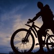 Stock Photo: Silhouette of biker