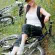Woman with bicycle — Stock Photo #1819955