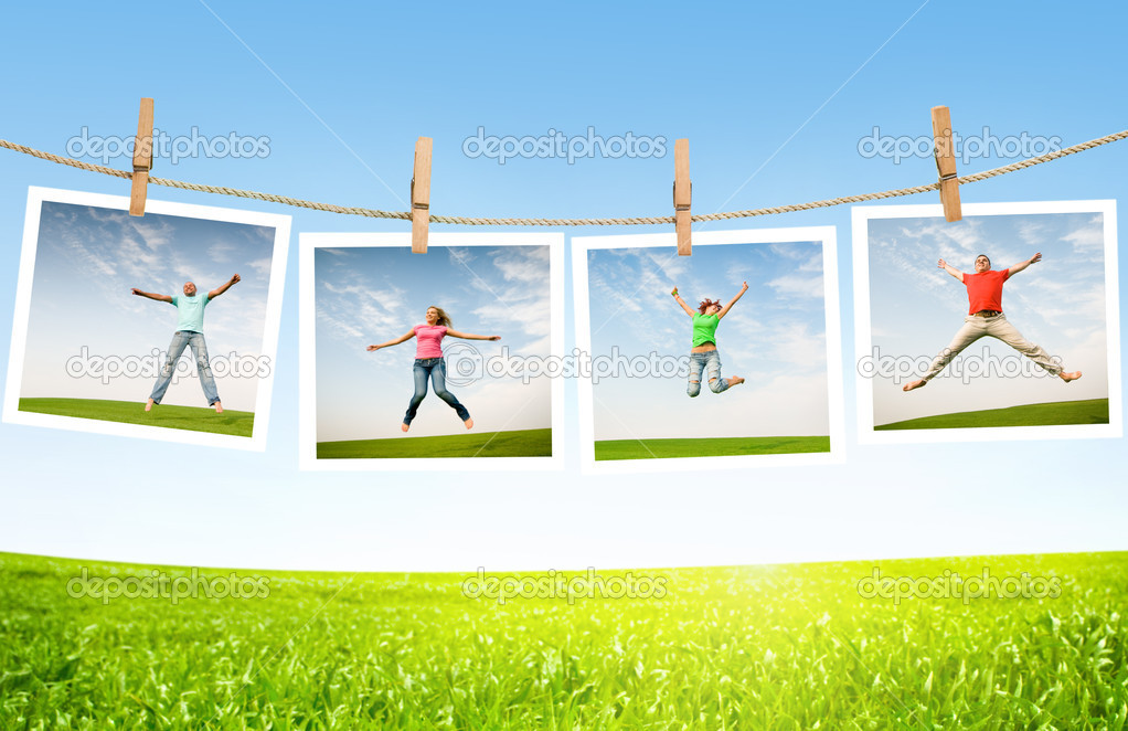 Jumping on idyllic landscape — Stock Photo #1814940