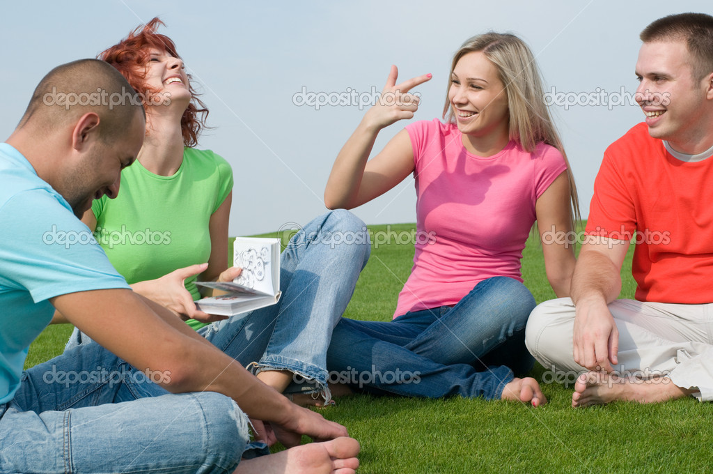 Students smiling and studying outdoors  Stock Photo #1815938