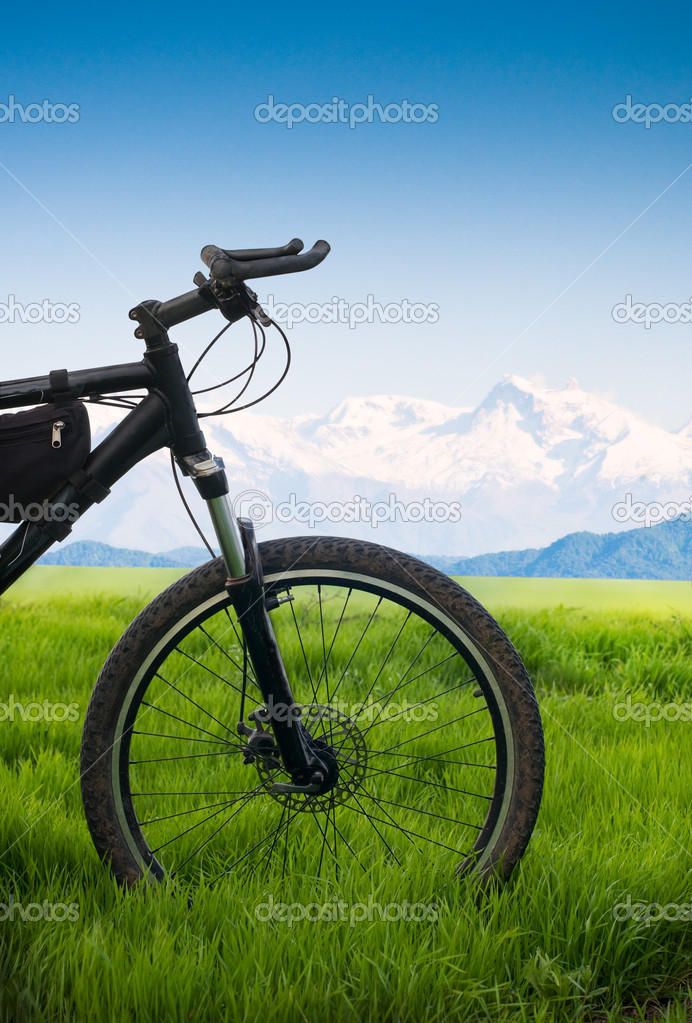 Bicycle in green fieldtourism concept  Stock Photo #1816628
