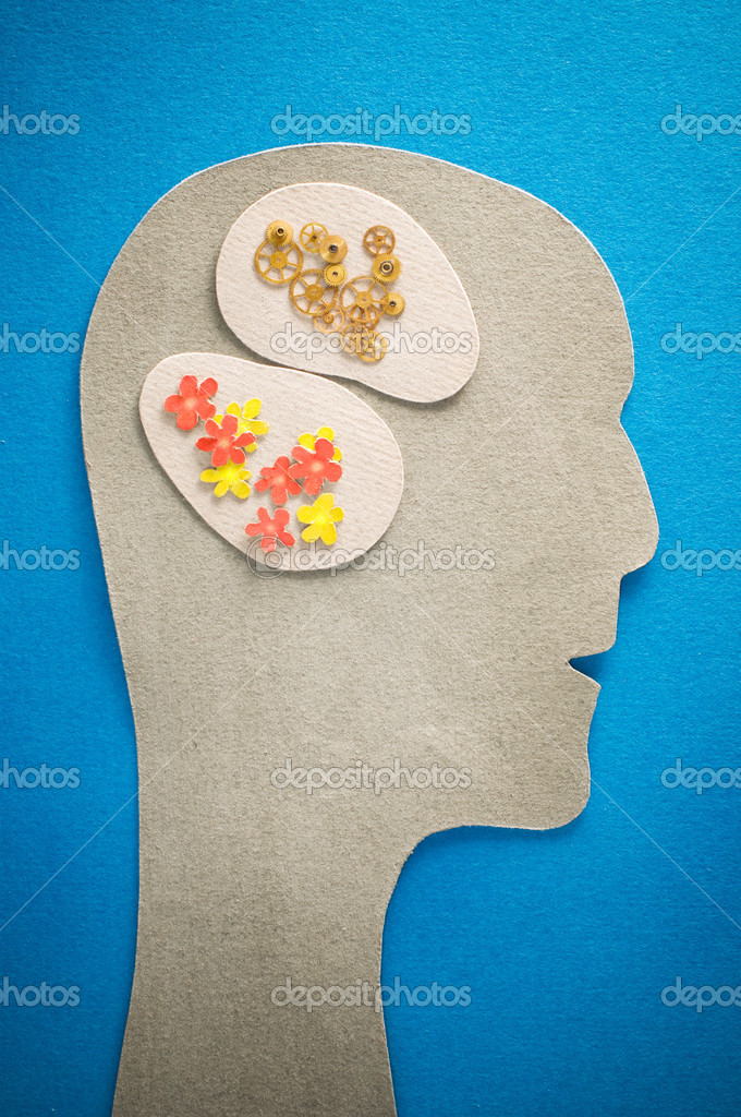 Human head with gears and flowers — Stock Photo #1816642