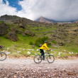 Foto Stock: Cyclists relax biking outdoors