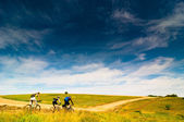 Cyclists relax biking outdoors — Stockfoto